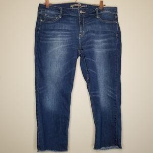 Arizona jean co raw frayed hem capri jeans (c)